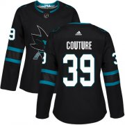 Wholesale Cheap Adidas Sharks #39 Logan Couture Black Alternate Authentic Women's Stitched NHL Jersey