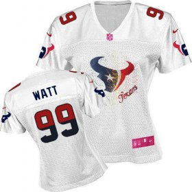 Wholesale Cheap Nike Texans #99 J.J. Watt White Women\'s Fem Fan NFL Game Jersey