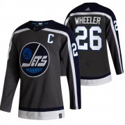 Wholesale Cheap Winnipeg Jets #26 Blake Wheeler Black Men's Adidas 2020-21 Reverse Retro Alternate NHL Jersey
