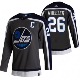 Wholesale Cheap Winnipeg Jets #26 Blake Wheeler Black Men\'s Adidas 2020-21 Reverse Retro Alternate NHL Jersey