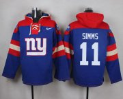 Wholesale Cheap Nike Giants #11 Phil Simms Royal Blue Player Pullover NFL Hoodie