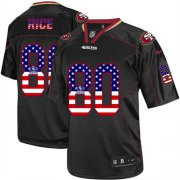 Wholesale Nike 49ers #80 Jerry Rice Black Men's Stitched NFL Elite USA Flag Fashion Jersey