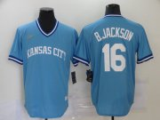 Wholesale Cheap Men's Kansas City Royals #16 Bo Jackson Light Blue Pullover Cool Base Cooperstown Collection Nike Jersey