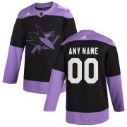 Wholesale Cheap San Jose Sharks Adidas Hockey Fights Cancer Custom Practice Jersey Black