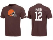 Wholesale Cheap Nike Cleveland Browns #12 Colt McCoy Name & Number NFL T-Shirt Brown