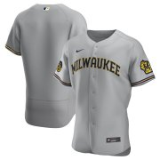 Wholesale Cheap Milwaukee Brewers Men's Nike Gray Road 2020 Authentic Team MLB Jersey