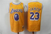 Wholesale Cheap Lakers 23 Lebron James Yellow Hardwood Classics Jersey