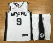 Wholesale Cheap Men's San Antonio Spurs #9 Tony Parker White 2017-2018 Nike Swingman Stitched NBA Jersey With Shorts