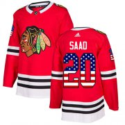 Wholesale Cheap Adidas Blackhawks #20 Brandon Saad Red Home Authentic USA Flag Stitched Youth NHL Jersey