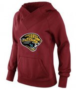 Wholesale Cheap Women's Jacksonville Jaguars Logo Pullover Hoodie Red-1