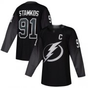 Wholesale Cheap Adidas Lightning #91 Steven Stamkos Black Alternate Authentic Stitched Youth NHL Jersey