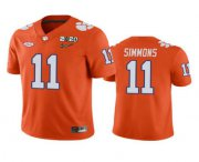 Wholesale Cheap Men's Clemson Tigers #11 Isaiah Simmons Orange 2020 National Championship Game Jersey