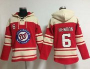 Wholesale Cheap Nationals #6 Anthony Rendon Red Sawyer Hooded Sweatshirt MLB Hoodie