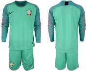 Wholesale Cheap Brazil Blank Green Goalkeeper Long Sleeves Soccer Country Jersey