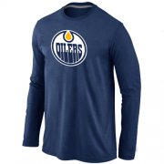 Wholesale Cheap NHL Edmonton Oilers Big & Tall Logo Long Sleeves T-Shirt Dark Blue
