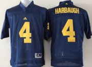 Wholesale Cheap Michigan Wolverines #4 Jim Harbaugh Navy Blue Jersey
