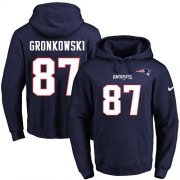 Wholesale Cheap Nike Patriots #87 Rob Gronkowski Navy Blue Name & Number Pullover NFL Hoodie
