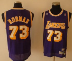 Wholesale Cheap Los Angeles Lakers #73 Dennis Rodman Purple Swingman Throwback Jersey