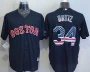 Wholesale Cheap Red Sox #34 David Ortiz Navy Blue USA Flag Fashion Stitched MLB Jersey