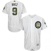 Wholesale Cheap Cubs #9 Javier Baez White(Blue Strip) Flexbase Authentic Collection Memorial Day Stitched MLB Jersey