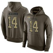 Wholesale Cheap NFL Men's Nike Jacksonville Jaguars #14 Justin Blackmon Stitched Green Olive Salute To Service KO Performance Hoodie