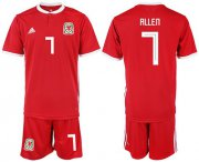 Wholesale Cheap Wales #7 Allen Red Home Soccer Club Jersey
