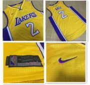Wholesale Cheap Men's Los Angeles Lakers #2 Lonzo Ball Yellow 2017-2018 Nike Swingman Stitched NBA Jersey