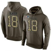 Wholesale Cheap NFL Men's Nike New England Patriots #18 Matt Slater Stitched Green Olive Salute To Service KO Performance Hoodie