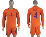Wholesale Cheap Holland #4 Blind Home Long Sleeves Soccer Country Jersey