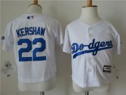 Wholesale Cheap Toddler Dodgers #22 Clayton Kershaw White Cool Base Stitched MLB Jersey