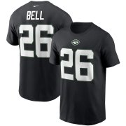 Wholesale Cheap New York Jets #26 Le'Veon Bell Nike Team Player Name & Number T-Shirt Black