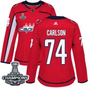 Wholesale Cheap Adidas Capitals #74 John Carlson Red Home Authentic Stanley Cup Final Champions Women's Stitched NHL Jersey