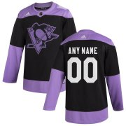 Wholesale Cheap Pittsburgh Penguins Adidas Hockey Fights Cancer Custom Practice Jersey Black