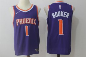 Wholesale Cheap Men\'s Phoenix Suns #1 Devin Booker Purple 2017-2018 Nike Swingman Stitched NBA Jersey