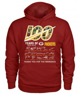 Wholesale Cheap Green Bay Packers 100 Seasons Memories Pullover Hoodie Red