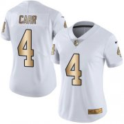 Wholesale Cheap Nike Raiders #4 Derek Carr White Women's Stitched NFL Limited Gold Rush Jersey
