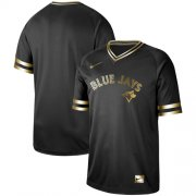 Wholesale Cheap Nike Blue Jays Blank Black Gold Authentic Stitched MLB Jersey