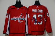 Wholesale Cheap Men's Washington Capitals #43 Tom Wilson Red With Team Logo Adidas Stitched NHL Jersey