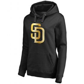 Wholesale Cheap Women\'s San Diego Padres Gold Collection Pullover Hoodie Black