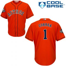 Wholesale Cheap Astros #1 Carlos Correa Orange Cool Base 2019 World Series Bound Stitched Youth MLB Jersey