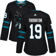 Wholesale Cheap Adidas Sharks #19 Joe Thornton Black Alternate Authentic Women's Stitched NHL Jersey