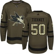 Wholesale Cheap Adidas Sharks #50 Chris Tierney Green Salute to Service Stitched NHL Jersey