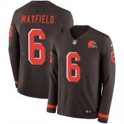 Wholesale Cheap Nike Browns #6 Baker Mayfield Brown Team Color Men's Stitched NFL Limited Therma Long Sleeve Jersey
