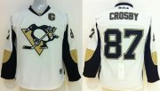 Wholesale Cheap Penguins #87 Sidney Crosby White Stitched Youth NHL Jersey
