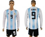 Wholesale Cheap Argentina #9 Icardi Home Long Sleeves Soccer Country Jersey