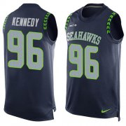 Wholesale Cheap Nike Seahawks #96 Cortez Kennedy Steel Blue Team Color Men's Stitched NFL Limited Tank Top Jersey