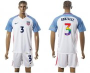 Wholesale Cheap USA #3 Gonzalez White Rainbow Soccer Country Jersey