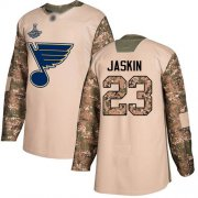 Wholesale Cheap Adidas Blues #23 Dmitrij Jaskin Camo Authentic 2017 Veterans Day Stanley Cup Champions Stitched NHL Jersey