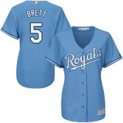 Wholesale Cheap Royals #5 George Brett Light Blue Alternate Women's Stitched MLB Jersey