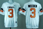 Wholesale Cheap Oklahoma State Cowboys #3 Brandon Weeden White Pro Combat Jersey